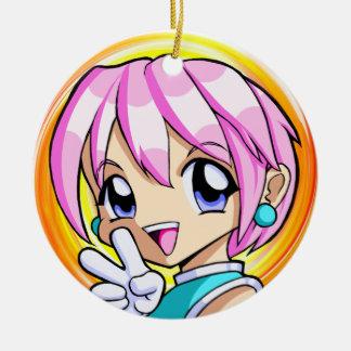 Ornement Rond En Céramique Fille mignonne d'Anime