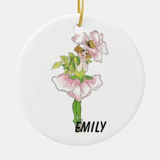 Ornement Rond En Céramique Fille mignonne drôle florale de fleur rose rose de