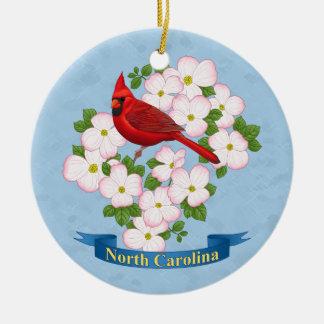 Ornement Rond En Céramique Fleur cardinale de cornouiller d'oiseau d'état de