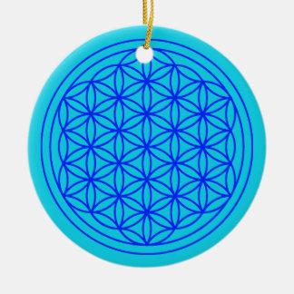 Ornement Rond En Céramique Fleur d'ornement de bleu de mandala de la vie