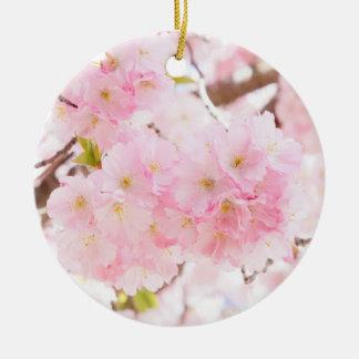 Ornement Rond En Céramique Fleur rose de cerise d'arbre