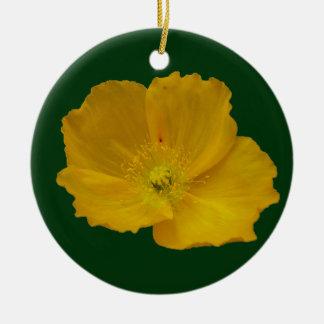 Ornement Rond En Céramique Fleur sauvage assez d'Alaska jaune de pavot