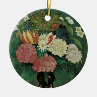 Ornement Rond En Céramique Fleurs avec le lierre par Henri Rousseau, cru