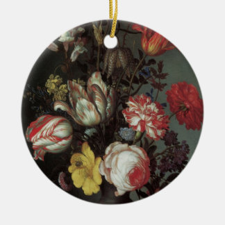 Ornement Rond En Céramique Fleurs baroques vintages par Balthasar van der Ast