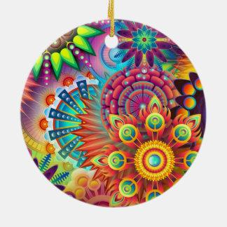 Ornement Rond En Céramique Fleurs colorées