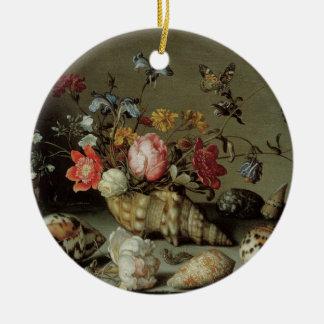 Ornement Rond En Céramique Fleurs, coquilles et Insects Balthasar van der Ast