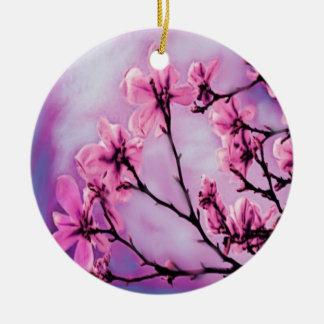Ornement Rond En Céramique Fleurs de cerisier roses