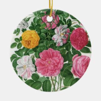 Ornement Rond En Céramique Fleurs de floraison de cru, roses de jardin de
