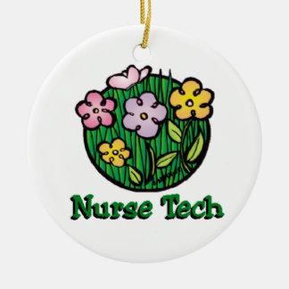 Ornement Rond En Céramique Fleurs de technologie d'infirmière