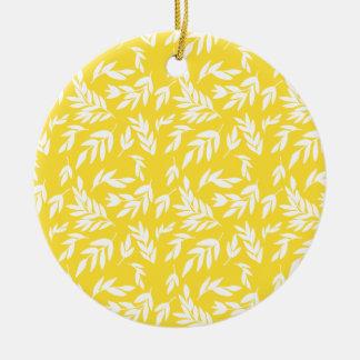 Ornement Rond En Céramique Fleurs sur le jaune de miel
