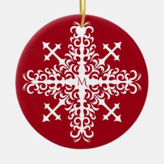 Ornement Rond En Céramique Flocon de neige médiéval décoré d'un monogramme