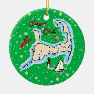 Ornement Rond En Céramique Flocons de neige de voilier de homard de carte de