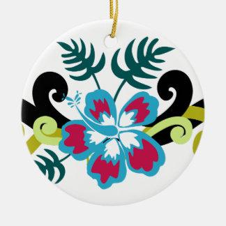 Ornement Rond En Céramique Floral hawaïen