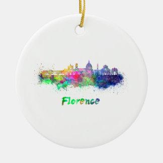 Ornement Rond En Céramique Florence V2 skyline in watercolor