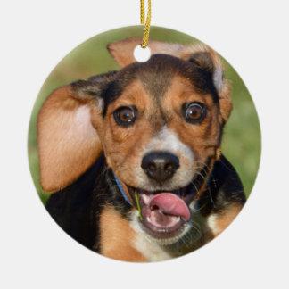Ornement Rond En Céramique Fonctionnement fou de chiot de beagle
