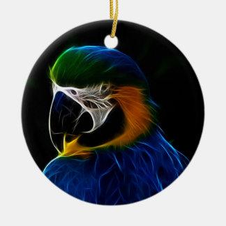 Ornement Rond En Céramique Fractale bleue de perroquet de Digitals