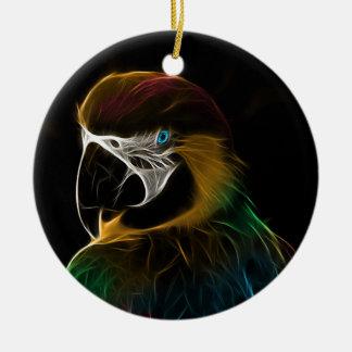 Ornement Rond En Céramique Fractale colorée de perroquet de Digitals