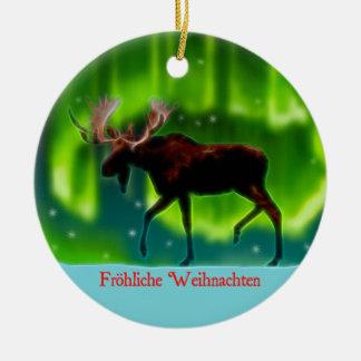 Ornement Rond En Céramique Frohliche Weihnachten - orignal de lumières du