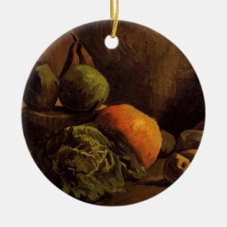 Ornement Rond En Céramique Fruit de légumes de Van Gogh, de cru toujours art
