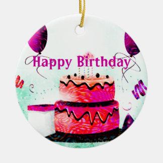 Ornement Rond En Céramique Gâteau d'anniversaire et partie de ballons dans le