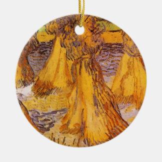 Ornement Rond En Céramique Gerbes de Van Gogh de blé, beaux-arts vintages