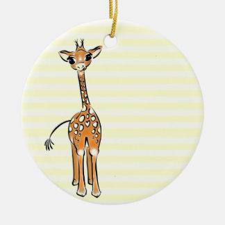 Ornement Rond En Céramique Girafe de bébé