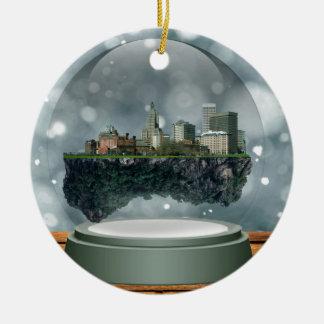 Ornement Rond En Céramique Globe de neige d'île de Providence