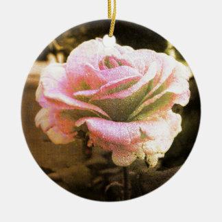 Ornement Rond En Céramique Golden rose