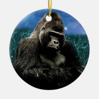 Ornement Rond En Céramique Gorille dans le pré