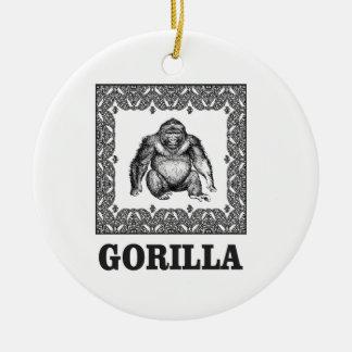 Ornement Rond En Céramique gorille enfermé dans une boîte