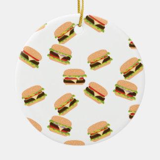 Ornement Rond En Céramique Grand hamburger savoureux