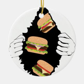 Ornement Rond En Céramique Grand hamburger savoureux et Hands3