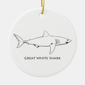 Ornement Rond En Céramique Grand requin blanc (schéma)