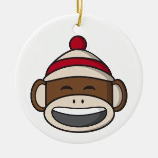 Ornement Rond En Céramique Grand singe Emoji de chaussette de sourire