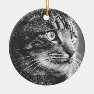 Ornement Rond En Céramique Grands yeux tigrés du profil | | noir et blanc