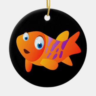 Ornement Rond En Céramique Greg le poisson rouge