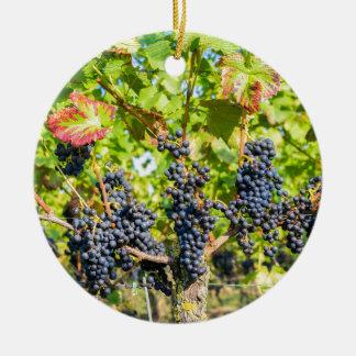 Ornement Rond En Céramique Groupes bleus accrochants de raisin dans le