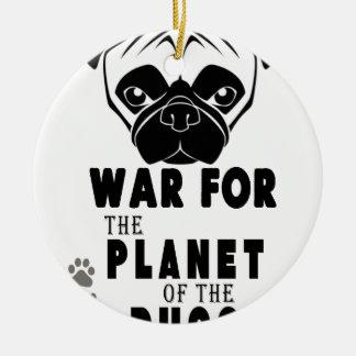 Ornement Rond En Céramique guerre pour la planète du chien frais de carlins