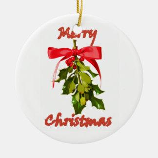 Ornement Rond En Céramique Gui de Joyeux Noël customisé