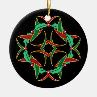 Ornement Rond En Céramique Guirlande celtique de houx de Noël