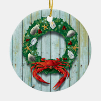 Ornement Rond En Céramique Guirlande côtière de crabe de vacances