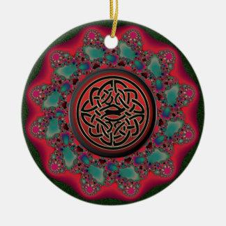 Ornement Rond En Céramique Guirlande de fractale de Noël avec le noeud