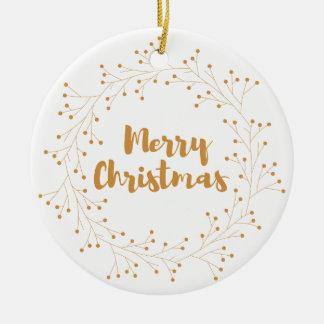 Ornement Rond En Céramique Guirlande de Joyeux Noël - d'or