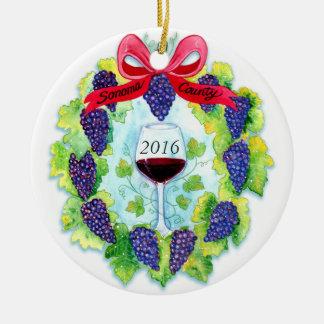 Ornement Rond En Céramique Guirlande de Noël de raisins de cuve du comté de
