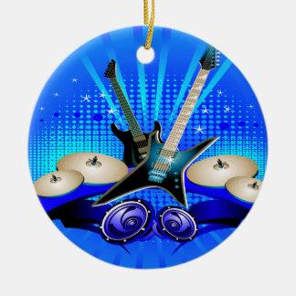 Ornement Rond En Céramique Guitares électriques, tambours et haut-parleurs