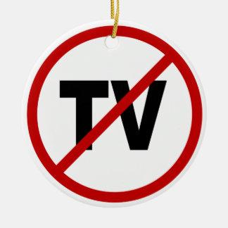 Ornement Rond En Céramique Haine TV /No TV permis la déclaration de signe