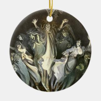 Ornement Rond En Céramique Halloween vintage, fantômes effrayants et musique