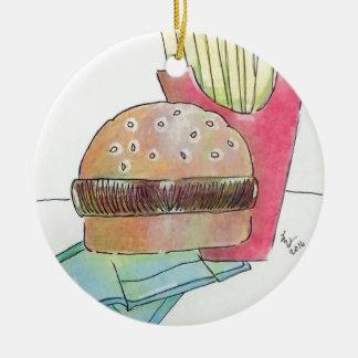 Ornement Rond En Céramique Hamburger avec des fritures