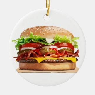 Ornement Rond En Céramique Hamburger d'hamburger de fromage