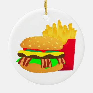 Ornement Rond En Céramique Hamburger et fritures